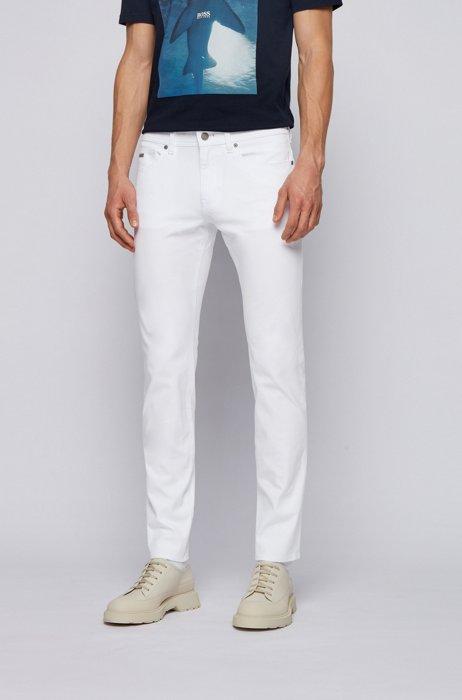Jeans slim fit in cotone super stretch leggero, Bianco