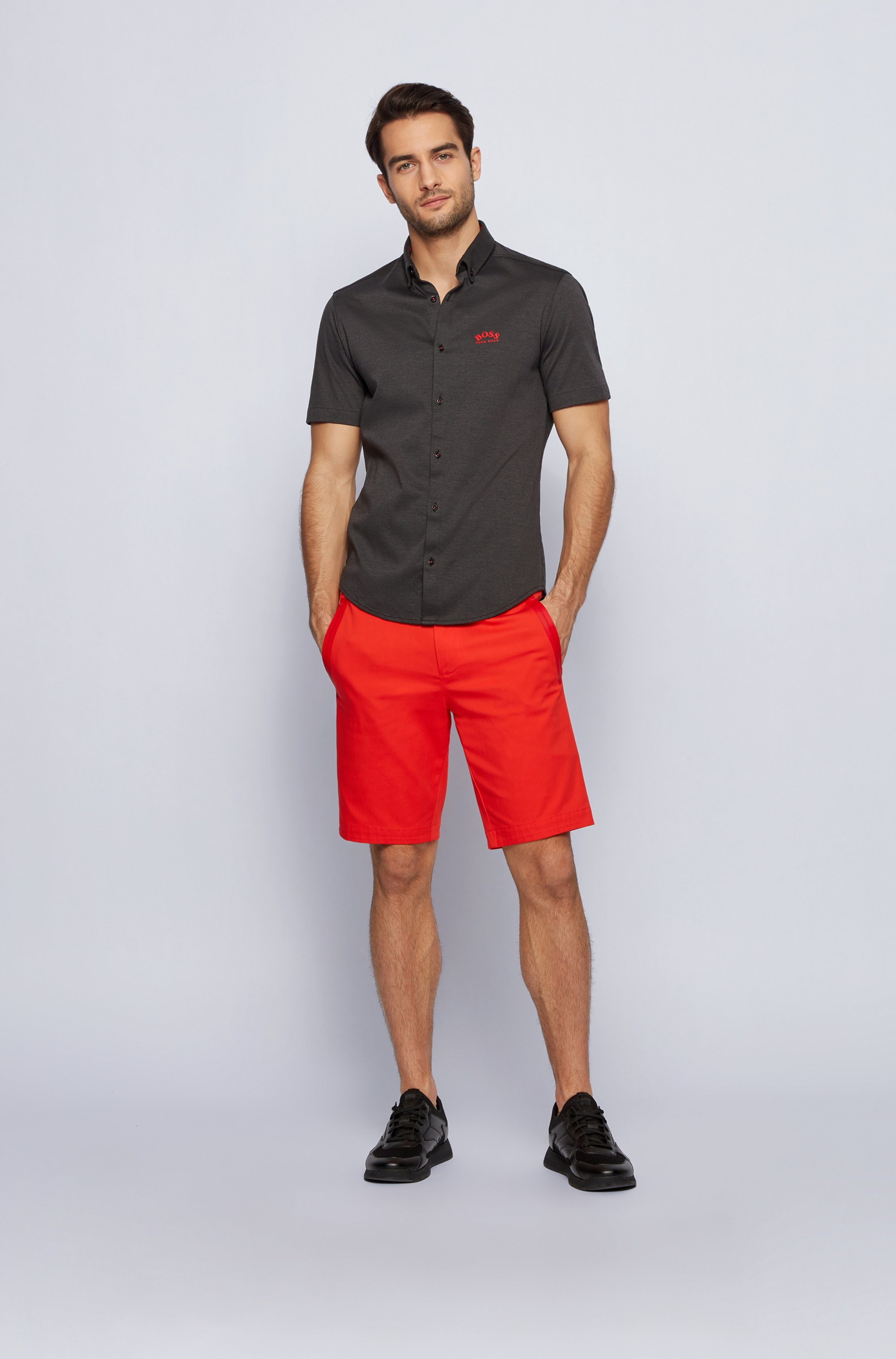 Chemise Regular Fit à manches courtes en jersey de coton