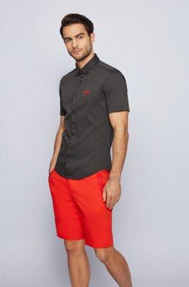 Chemise Regular Fit à manches courtes en jersey de coton, Noir