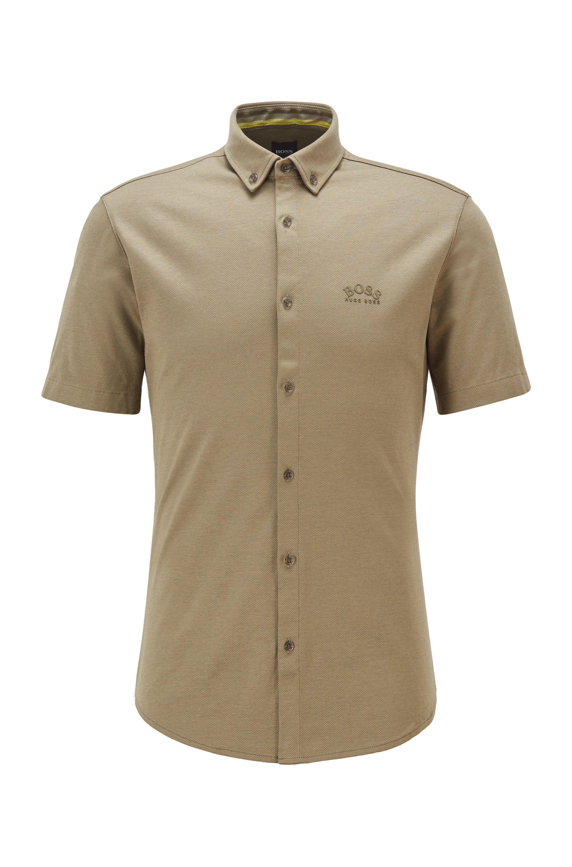 Short-sleeved regular-fit shirt in cotton jersey, Beige