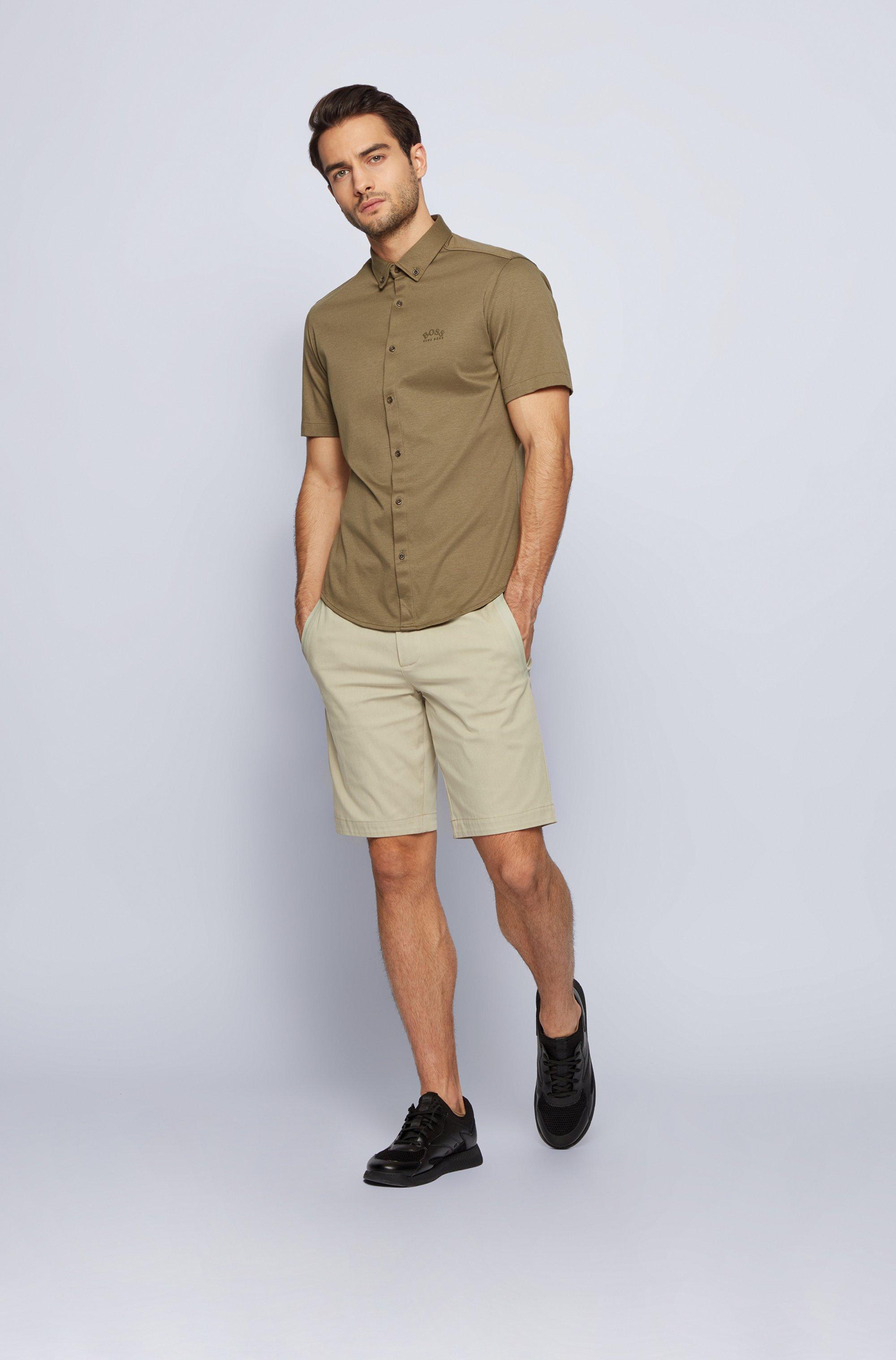Short-sleeved regular-fit shirt in cotton jersey