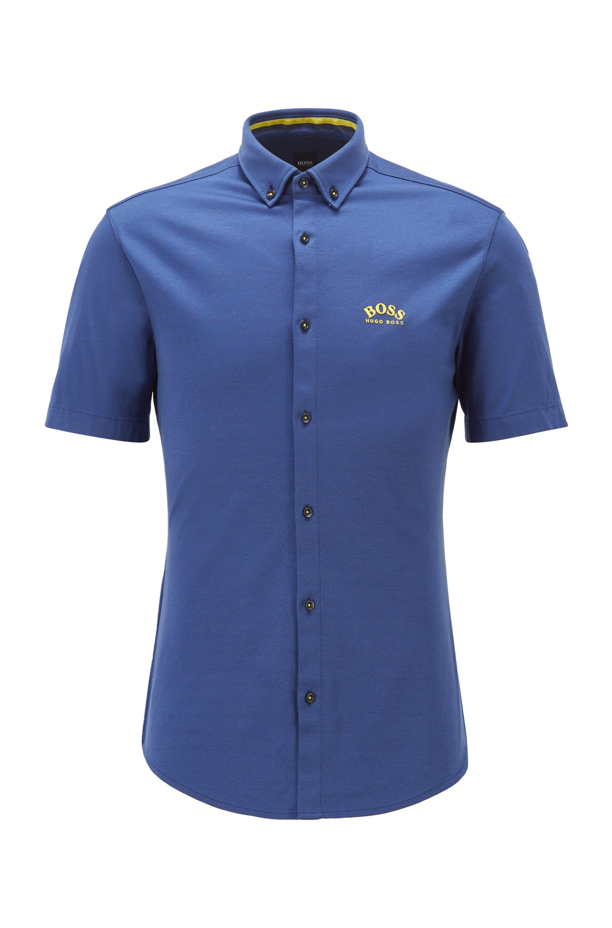 Camicia a maniche corte regular fit in jersey di cotone, Blu