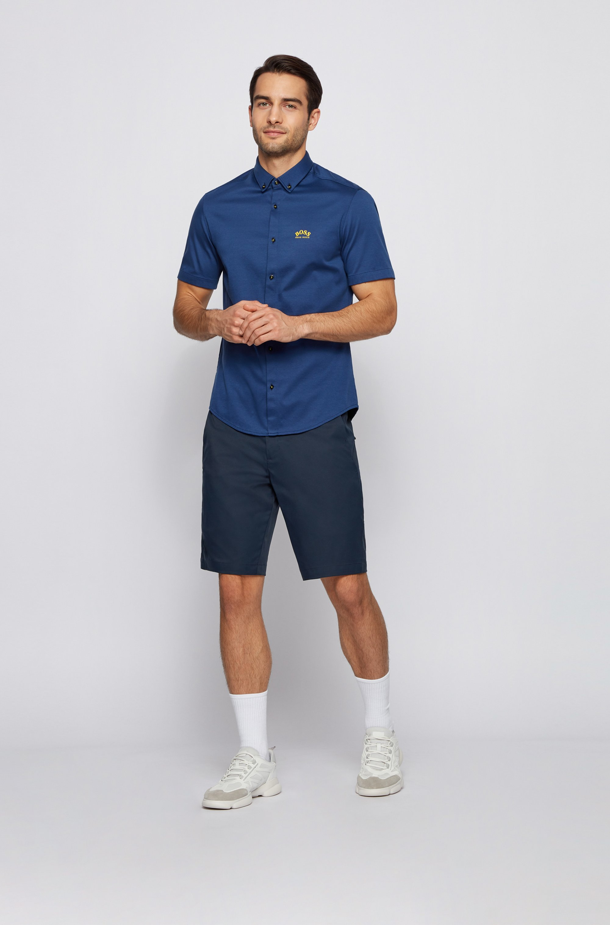 Camicia a maniche corte regular fit in jersey di cotone