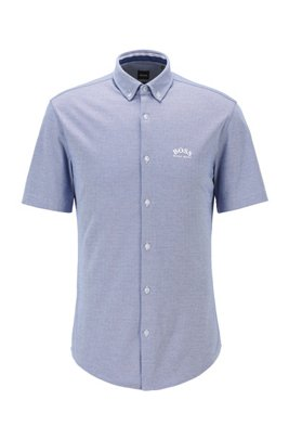 Short-sleeved regular-fit shirt in cotton jersey, Blue