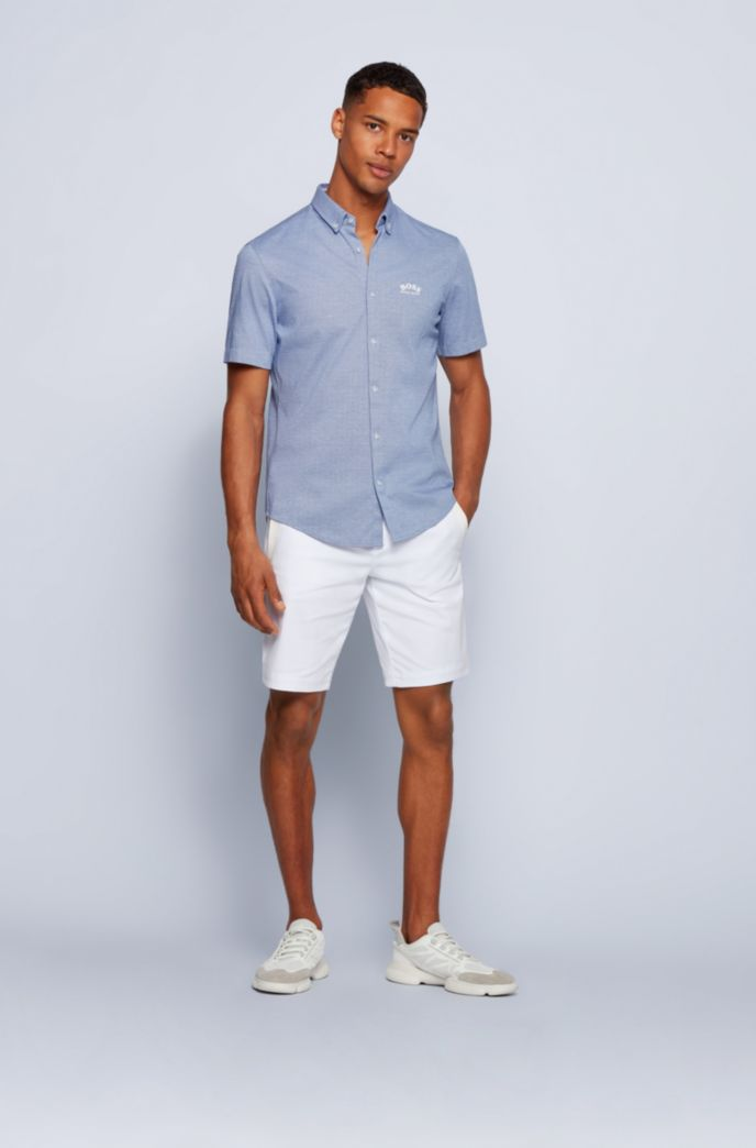 Short-sleeved regular-fit shirt in cotton jersey