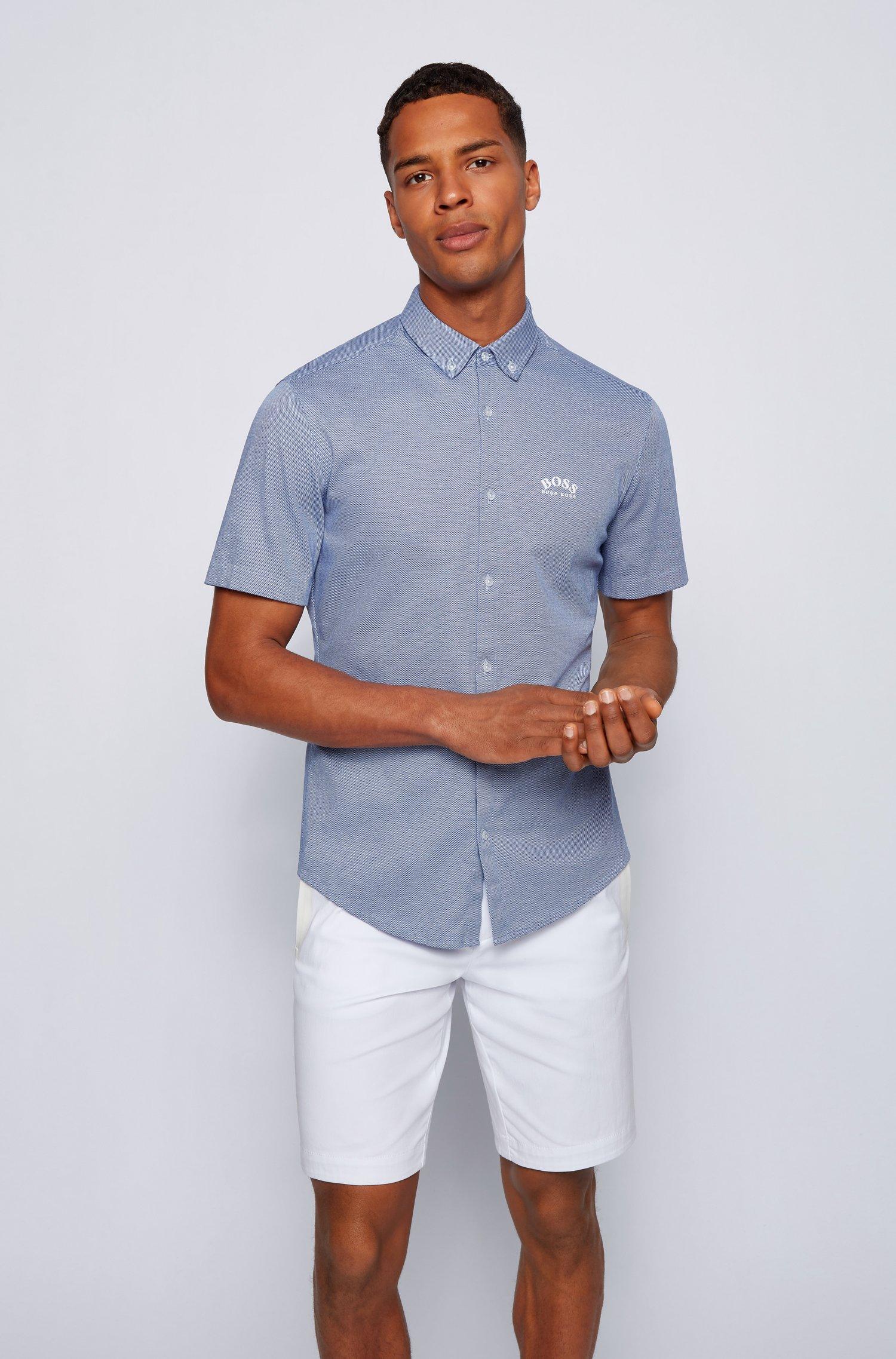Chemise Regular Fit à manches courtes en jersey de coton, Bleu