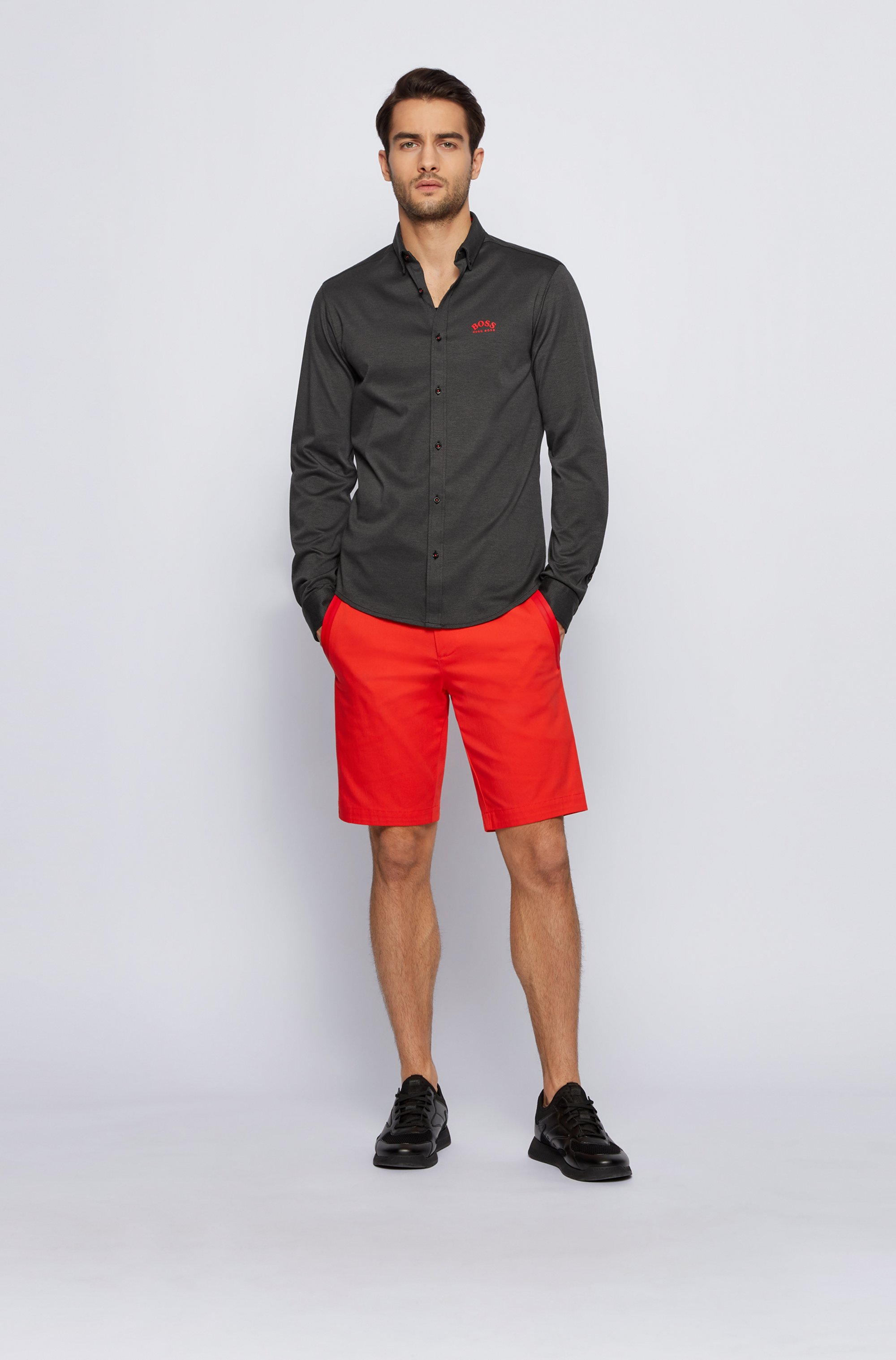 Long-sleeved regular-fit shirt in cotton jersey