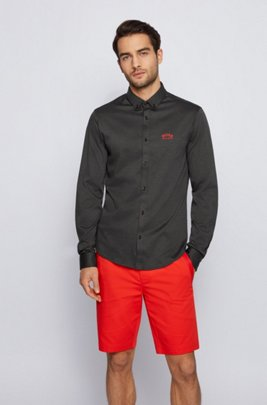 Long-sleeved regular-fit shirt in cotton jersey, Black