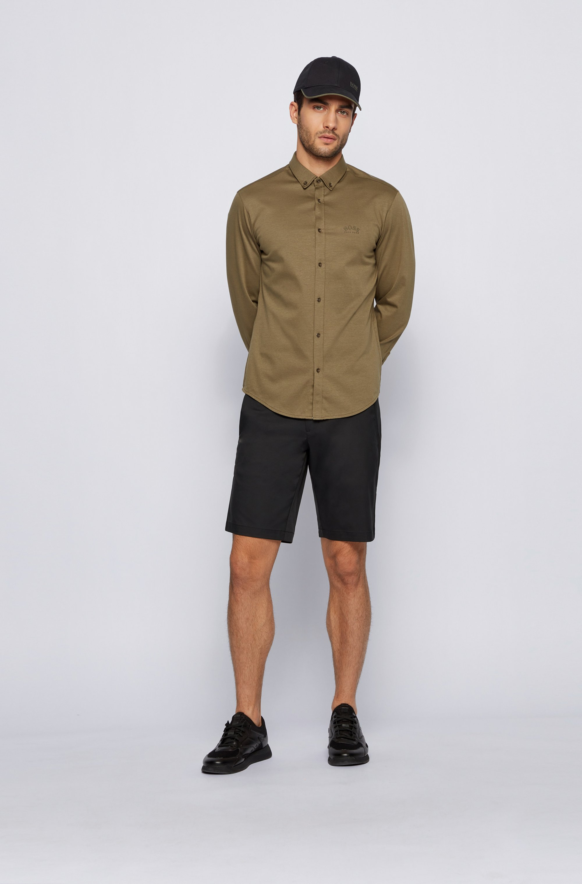 Chemise Regular Fit à manches longues en jersey de coton