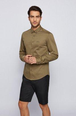 Chemise Regular Fit à manches longues en jersey de coton, Beige