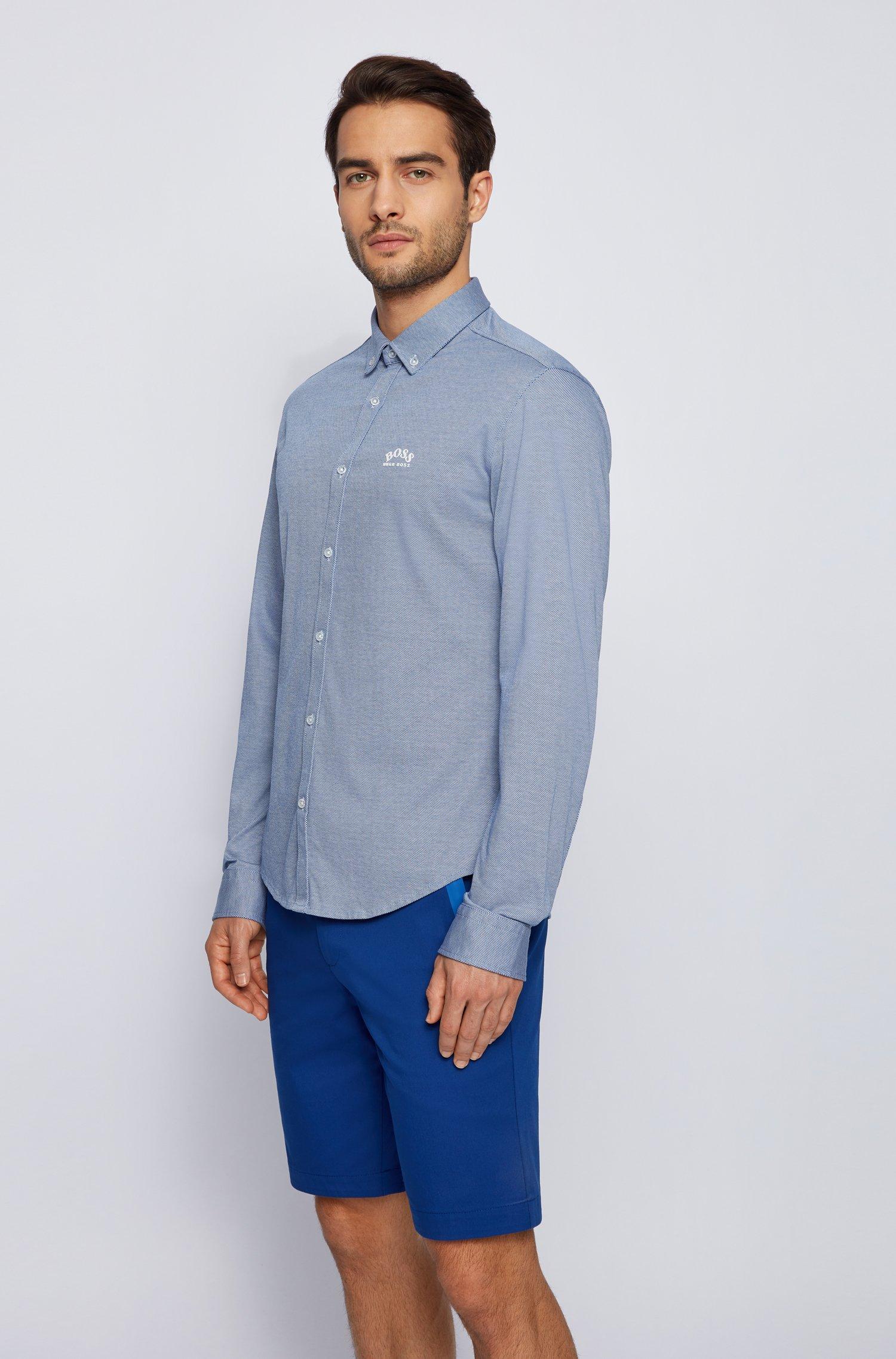 Chemise Regular Fit à manches longues en jersey de coton, Bleu