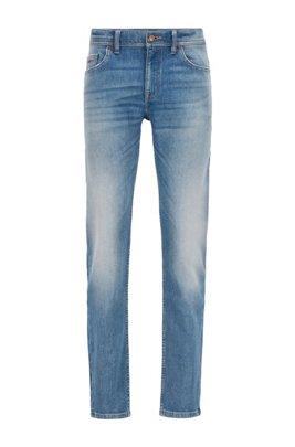 Slim-fit jeans in washed comfort-stretch denim, Blue
