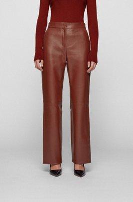 Wide-leg trousers in plonge leather, Brown