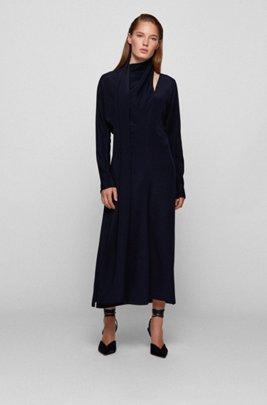 Tie-detail maxi dress in pure silk, Light Blue