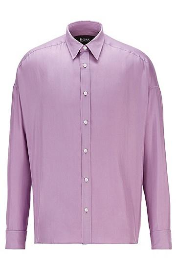 意大利真丝斜纹绸休闲衬衫,  532_浅紫色