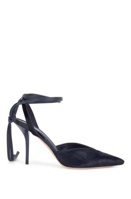 Slingback pumps in calf hair with leather sole, Dark Blue