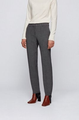 Boot-leg regular-fit trousers in stretch jacquard, Grey