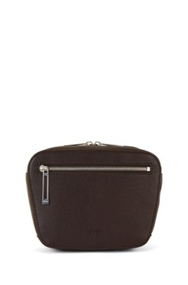 Belt bag in grained leather with embossed logo, Dark Brown