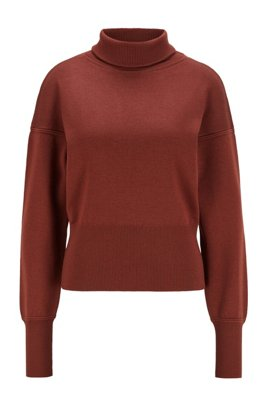 Knitted sweater in virgin wool with stand collar , Brown