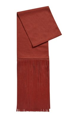 Cashmere scarf with leather fringing, Brown