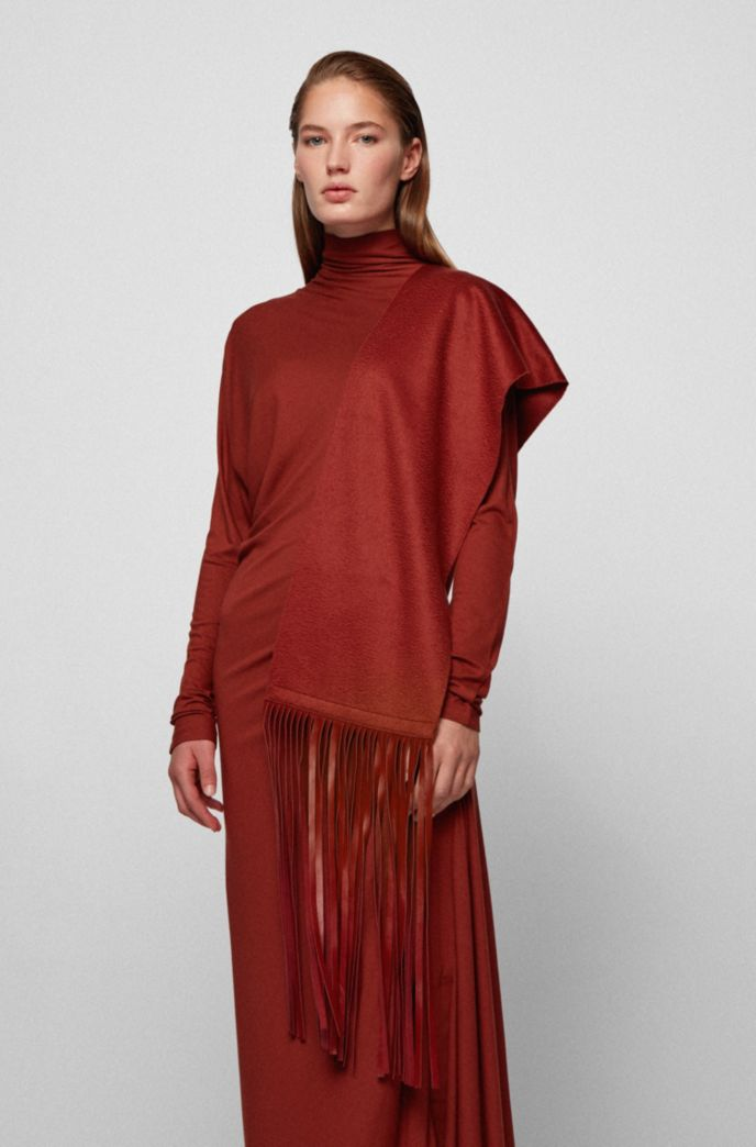 Cashmere scarf with leather fringing