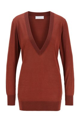 Knitted sweater with V-neck in pure silk, Brown