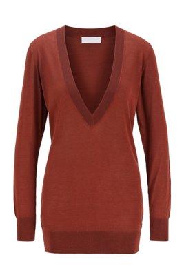 Gebreide trui met V-hals van zuivere zijde, Bruin