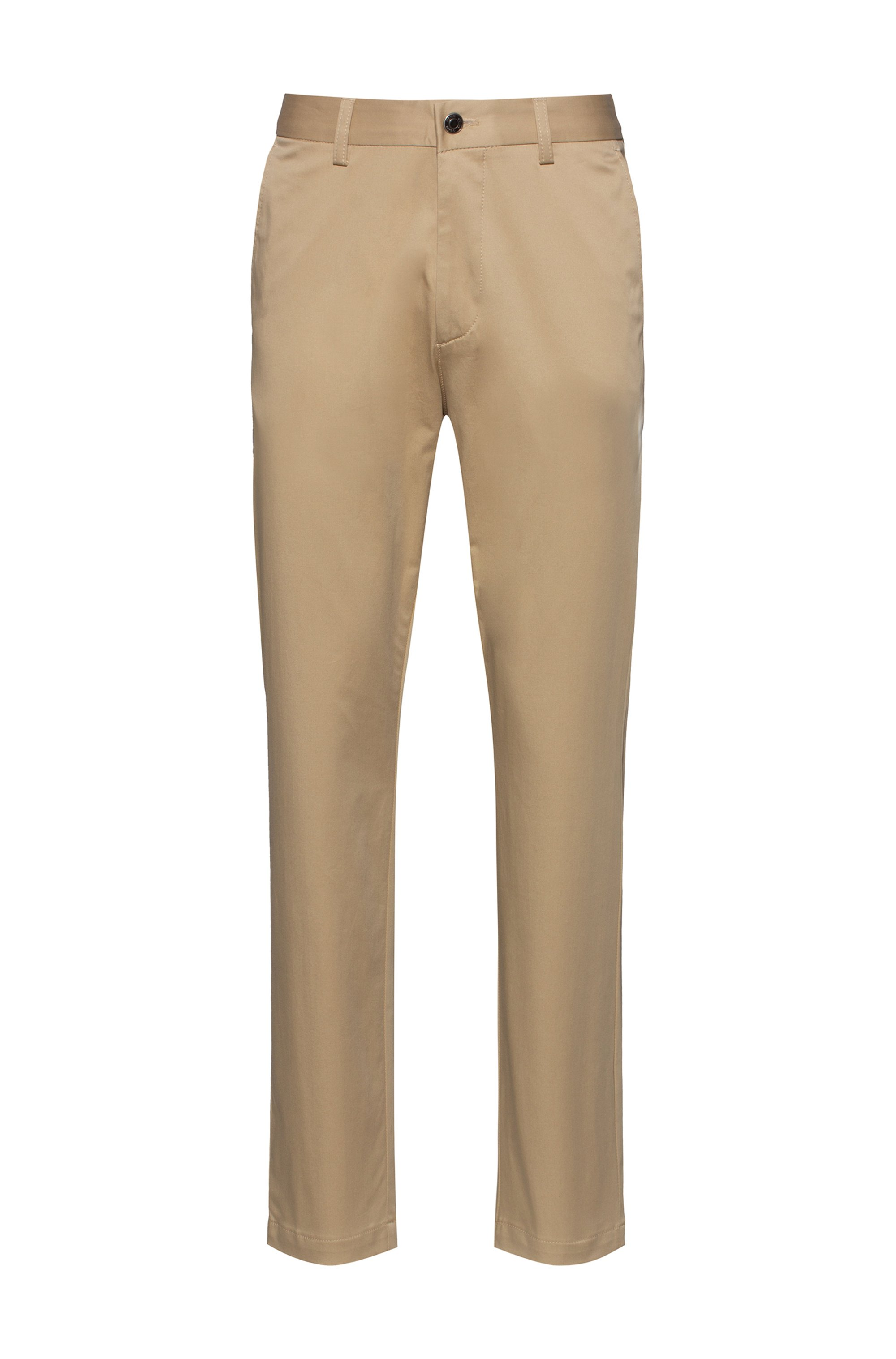 Pantalon Regular Fit en satin de coton stretch, Beige
