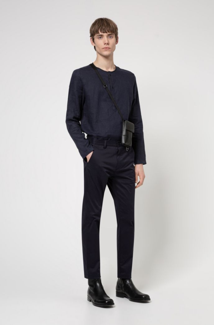 Regular-fit trousers in stretch-cotton satin