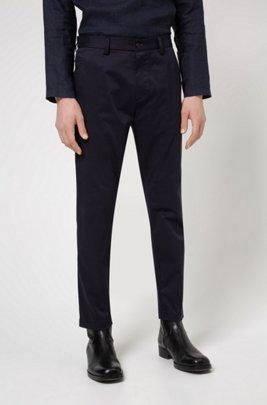 Regular-fit trousers in stretch-cotton satin, Dark Blue
