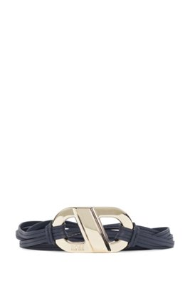 Tie-up belt in leather with feature buckle, Dark Blue