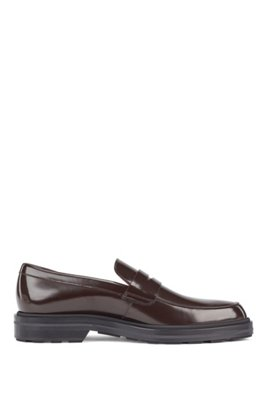 Loafers in calf leather with penny vamp, Dark Brown