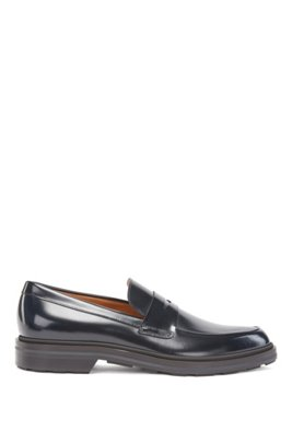 Loafers in calf leather with penny vamp, Dark Blue