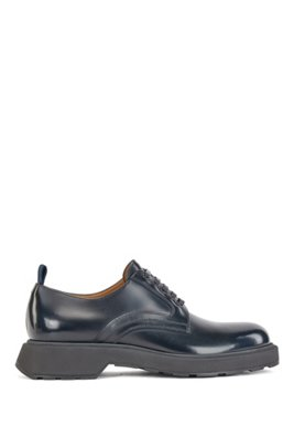 Derby shoes in calf leather, Dark Blue