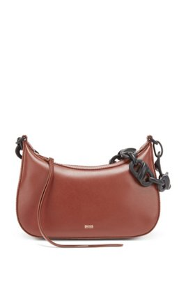Leather hobo bag with contrast chain strap, Brown