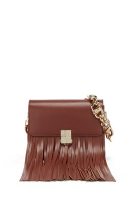 Leather shoulder bag with chunky chain strap, Brown