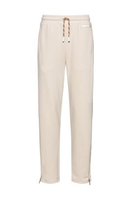 Tapered-fit tracksuit bottoms with zipped hems, White