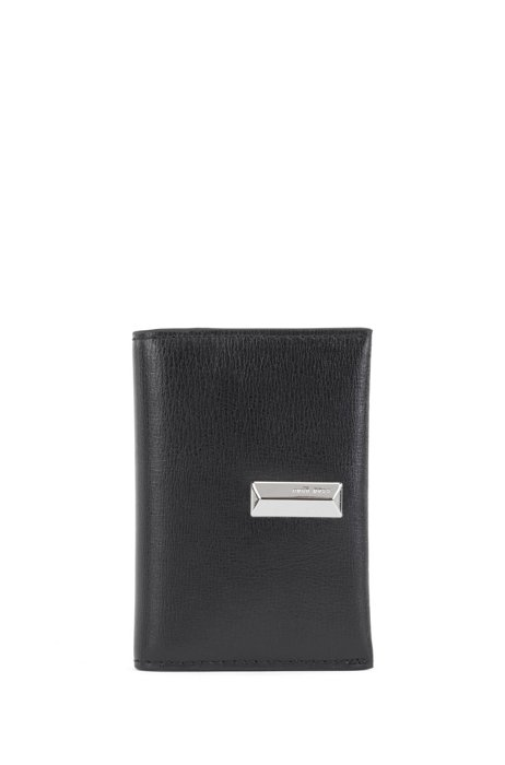 Structured-leather card holder with pyramid hardware, Black
