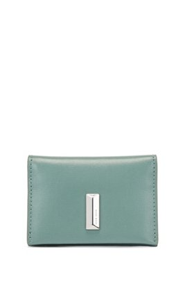 Structured-leather card holder with pyramid hardware, Light Green