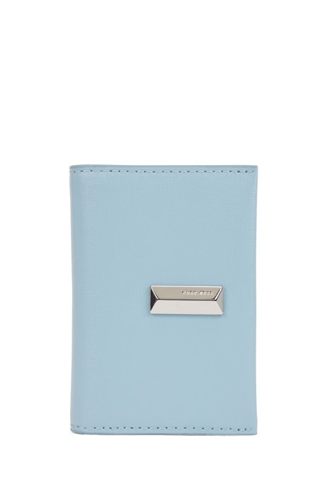 Structured-leather card holder with pyramid hardware, Light Blue