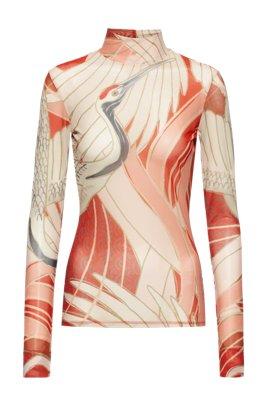 Maglia con collo a lupetto in jersey elasticizzato con stampa con gru, A disegni
