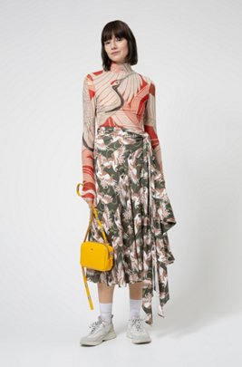Mock-neck top in stretch jersey with crane print, Patterned