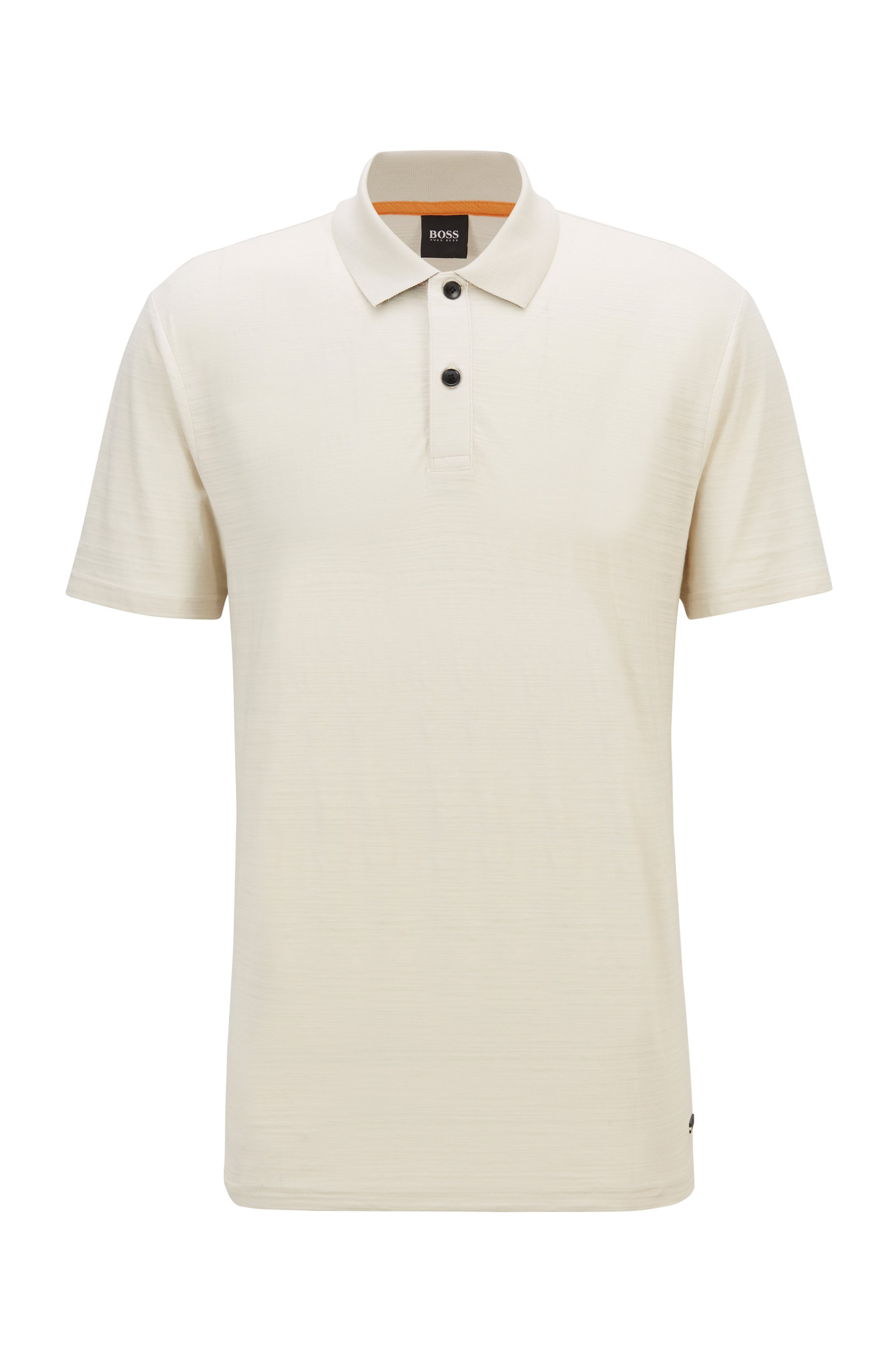Slub-cotton polo shirt with zig-zag stitching, Light Beige