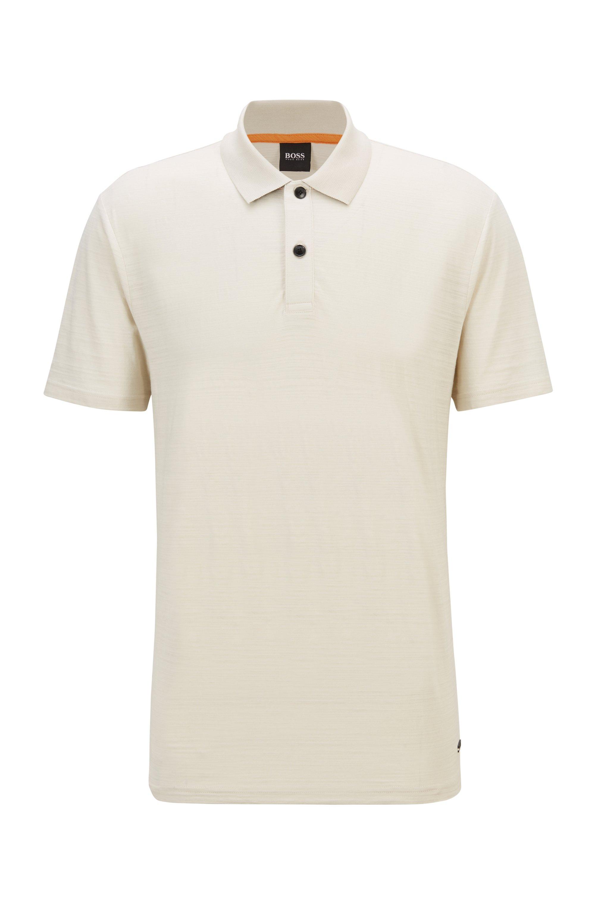 Poloshirt aus strukturierter Baumwolle mit Zickzack-Nähten, Hellbeige