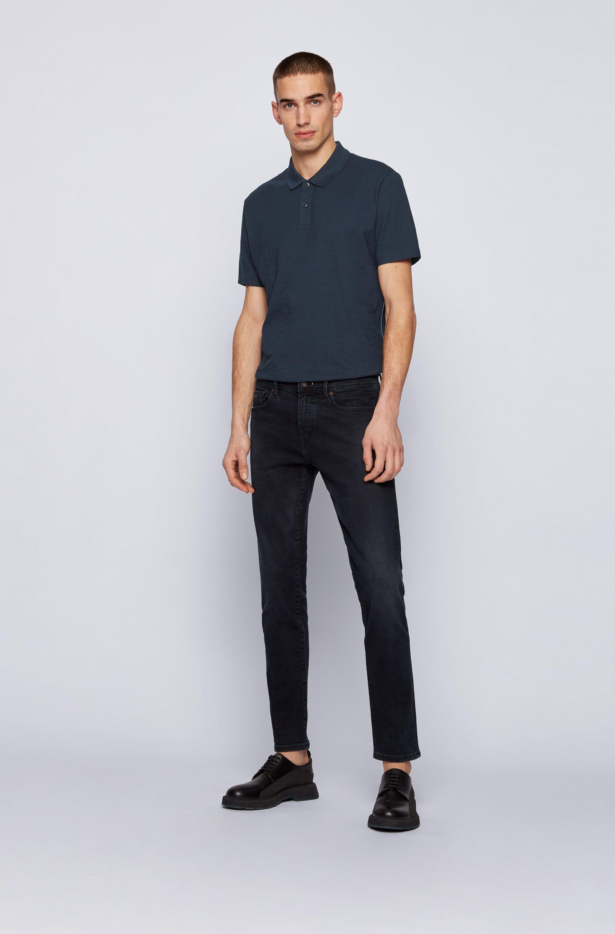 Slub-cotton polo shirt with zig-zag stitching