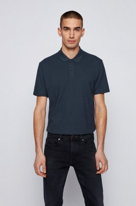 Slub-cotton polo shirt with zig-zag stitching, Dark Blue