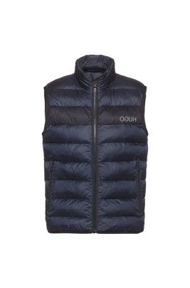 Recycled-fabric puffer gilet with reversed logo, Dark Blue