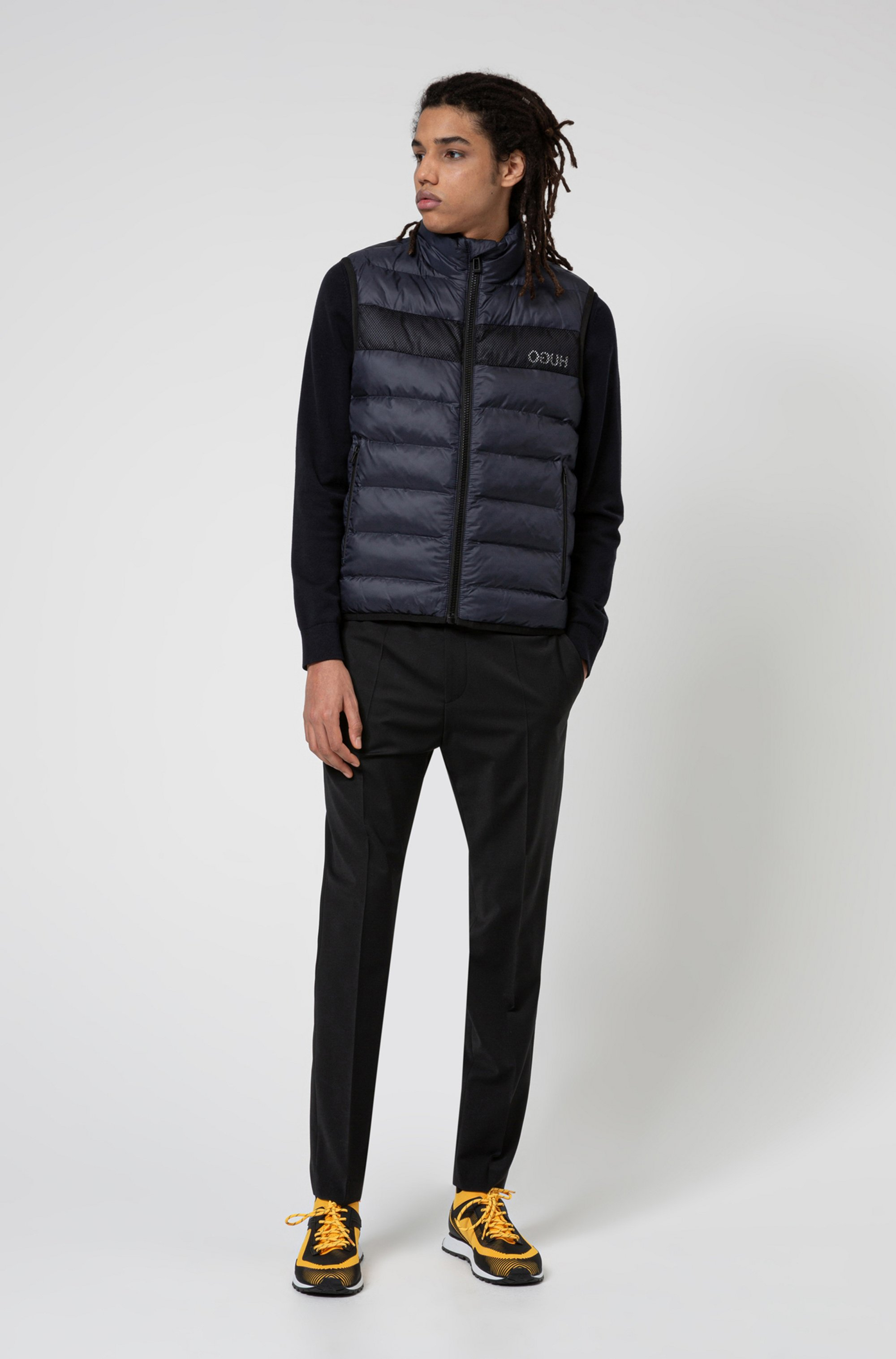 Recycled-fabric puffer gilet with reversed logo