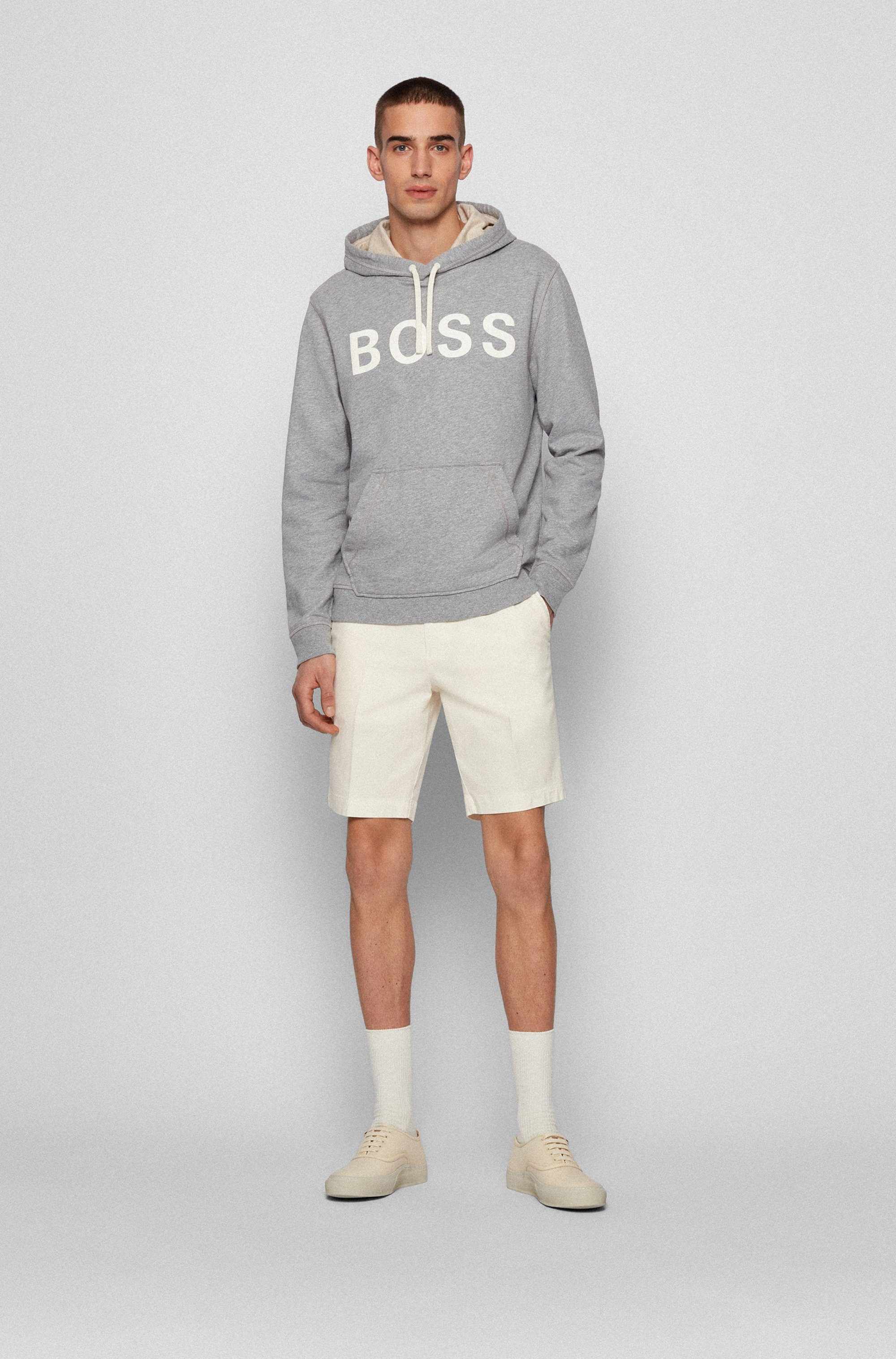 Relaxed-fit logo hoodie in organic cotton and hemp