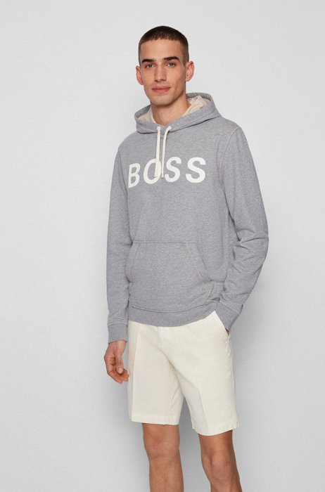 Relaxed-fit logo hoodie in organic cotton and hemp, Grey